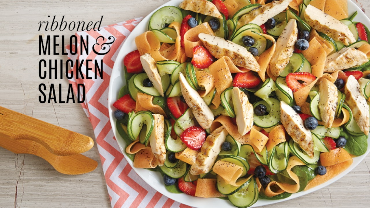 Ribboned Melon & Chicken Salad